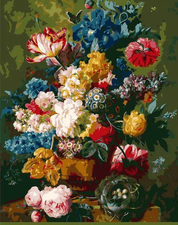 «Цветы и гнездо» Паулюса Теодора Ван БрюсселяРаскраски по номерам Menglei (Standart)<br><br><br>Артикул: MG1514_S<br>Основа: Холст<br>Сложность: сложные<br>Размер: 40x50 см<br>Количество цветов: 25<br>Техника рисования: Без смешивания красок