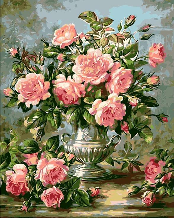 Картина по номерам «Розовые розы» Альберта УильямсаMenglei (Premium)<br><br><br>Артикул: MG627<br>Основа: Холст<br>Сложность: сложные<br>Размер: 40x50 см<br>Количество цветов: 23<br>Техника рисования: Без смешивания красок