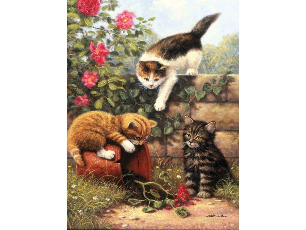 «Играющие котята» Кевина УолшаRoyal&amp;Langnickel<br>Картина по номерам раскрашивается с применением техники смешивания красок.<br><br>В наборе предусмотрены базовые цвета, однако смешивание красок занятие достаточно простое и доступное.<br>Royal &amp;amp; Langnickel - производитель из Великобритании, специализирующи...<br><br>Артикул: PJS52<br>Основа: Картон<br>Сложность: легкие<br>Размер: 22x30<br>Количество цветов: 7<br>Техника рисования: Со смешиванием красок
