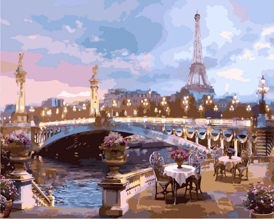 Картина по номерам «Романтика вечернего Парижа»Цветной (Standart)<br><br><br>Артикул: GX9012_Z<br>Основа: Холст<br>Сложность: сложные<br>Размер: 40x50 см<br>Количество цветов: 25<br>Техника рисования: Без смешивания красок