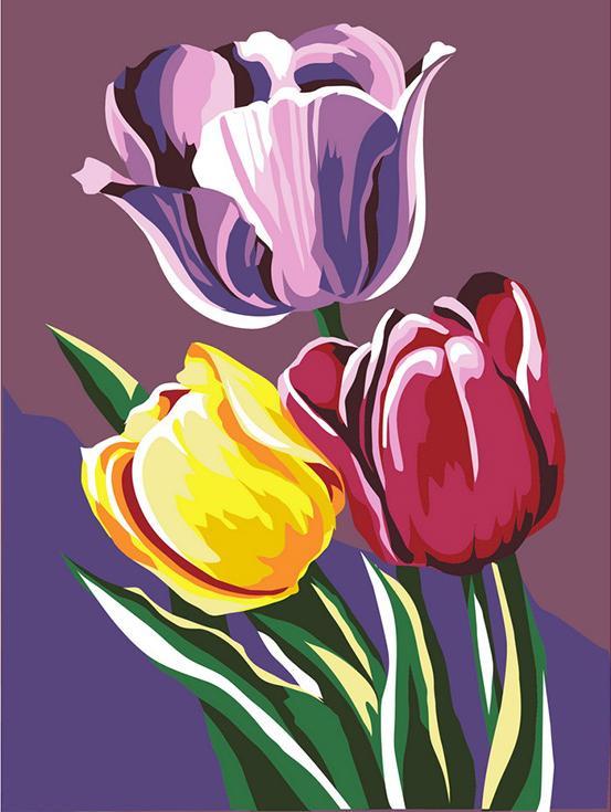 «Тюльпаны»Артвентура<br><br><br>Артикул: 01ART40300096<br>Основа: Картон<br>Сложность: легкие<br>Размер: 40x30 см<br>Количество цветов: 15<br>Техника рисования: Без смешивания красок