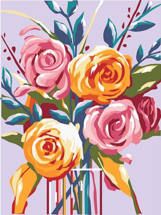 «Нежные розы»Артвентура<br><br><br>Артикул: 01ART40300097<br>Основа: Картон<br>Сложность: легкие<br>Размер: 40x30 см<br>Количество цветов: 16<br>Техника рисования: Без смешивания красок