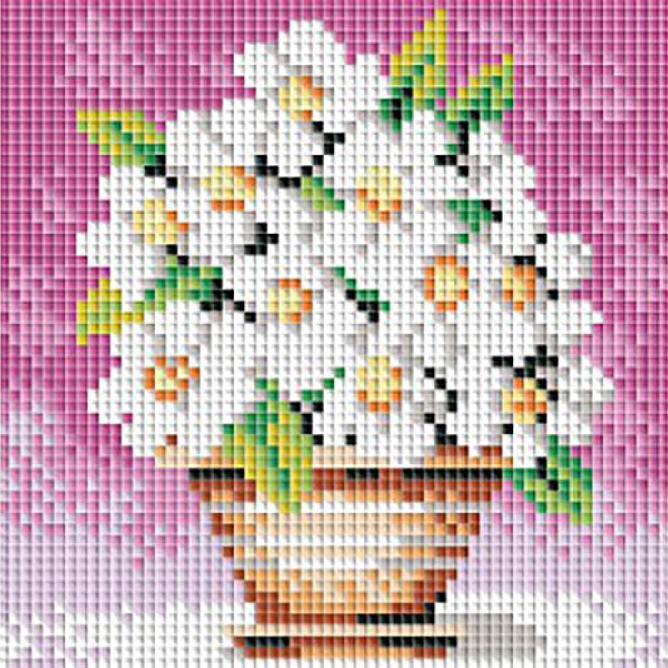 Стразы «Белоснежные цветы»Алмазна вышивка фирмы Белоснежка<br><br><br>Артикул: 042-ST-PS<br>Основа: Холст без подрамника<br>Сложность: легкие<br>Размер: 15x15 см<br>Выкладка: Полна<br>Количество цветов: 15<br>Тип страз: Квадратные