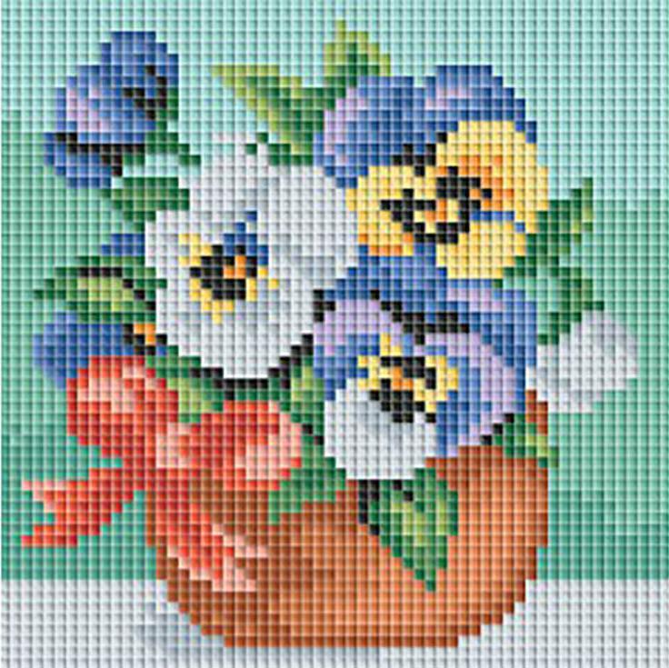 Стразы «Веселые цветочки»Алмазная вышивка фирмы Белоснежка<br><br><br>Артикул: 049-ST-PS<br>Основа: Холст без подрамника<br>Сложность: легкие<br>Размер: 15x15 см<br>Выкладка: Полная<br>Количество цветов: 21<br>Тип страз: Квадратные
