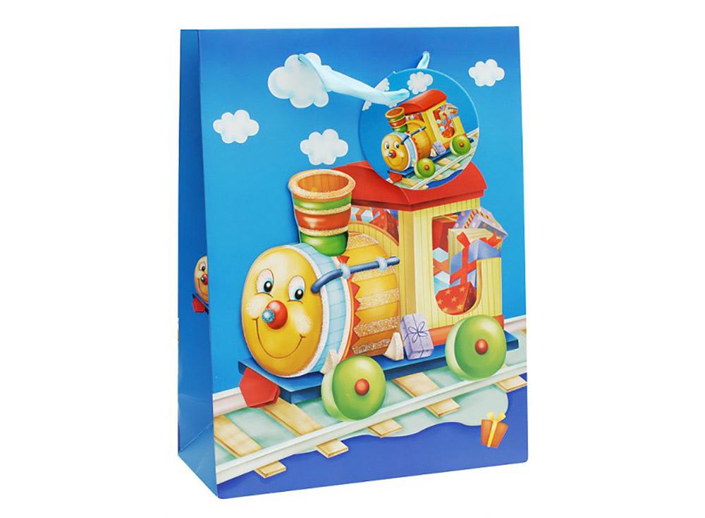 Подарочный пакет «Паровозик»Подарочные пакеты<br>Оригинальный пакет для упаковки подарка - это:<br> - качественная плотная бумага;<br> <br>- объемные элементы для украшения;<br> <br>- яркая и четкая печать рисунка;<br> <br>- укрепленное дно.<br> <br> Ваш подарок будет упакован стильно и качественно.<br><br>Артикул: 1025-SB<br>Размер: 18x24x8 см