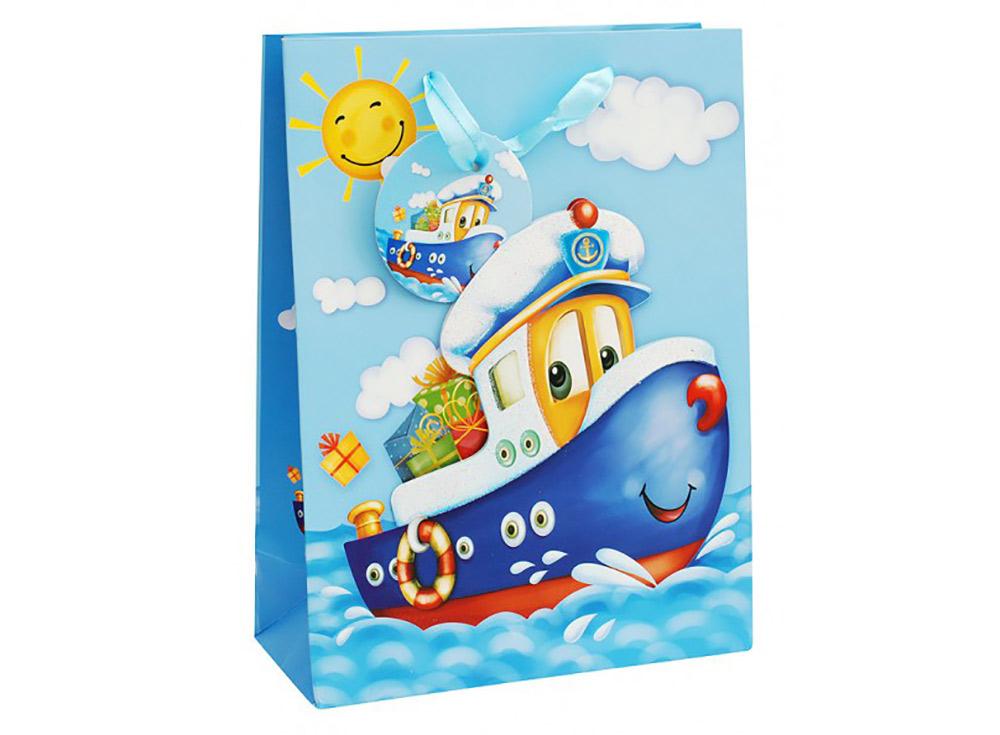 Подарочный пакет «Кораблик»Подарочные пакеты<br>Оригинальный пакет для упаковки подарка - это:<br> - качественная плотная бумага;<br> <br>- объемные элементы для украшения;<br> <br>- яркая и четкая печать рисунка;<br> <br>- укрепленное дно.<br> <br> Ваш подарок будет упакован стильно и качественно.<br><br>Артикул: 1028-SB<br>Размер: 18x24x8 см