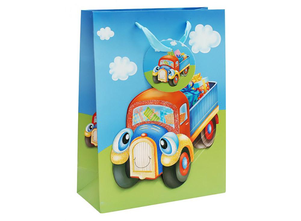 Подарочный пакет «Грузовичок»Подарочные пакеты<br>Оригинальный пакет для упаковки подарка - это:<br> - качественная плотная бумага;<br> <br>- яркая и четкая печать рисунка;<br> <br>- укрепленное дно.<br> <br> Ваш подарок будет упакован красиво.<br><br>Артикул: 1031-SB<br>Размер: 18x24x8 см