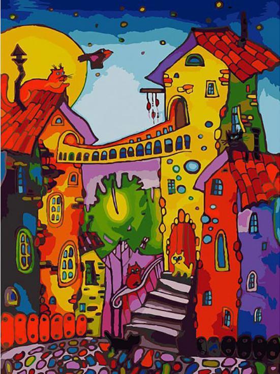 «Цветные коты»Картины по номерам Белоснежка<br><br><br>Артикул: 104-AS<br>Основа: Холст<br>Сложность: очень сложные<br>Размер: 30x40 см<br>Количество цветов: 30<br>Техника рисования: Без смешивания красок
