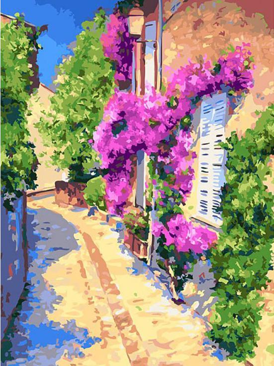 Картина по номерам «Тихая улочка» Жан Марка ЖаньячикаРаскраски по номерам<br><br>