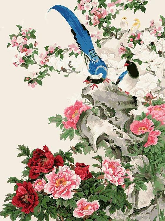 «Райские птицы» Чжин ХонгджунКартины по номерам Белоснежка<br><br><br>Артикул: 106-AS<br>Основа: Холст<br>Сложность: очень сложные<br>Размер: 30x40 см<br>Количество цветов: 33<br>Техника рисования: Без смешивания красок
