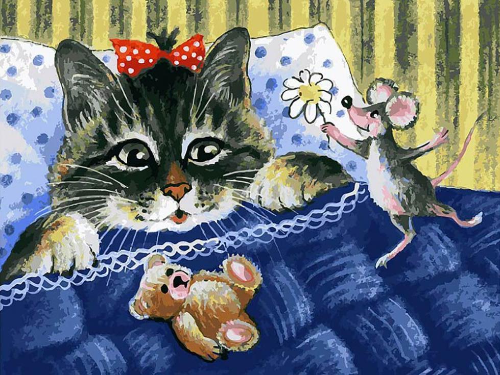 Картина по номерам «Кот и мышка» Ирины ГармашовойКартины по номерам Белоснежка<br><br><br>Артикул: 116-AS<br>Основа: Холст<br>Сложность: очень сложные<br>Размер: 30x40 см<br>Количество цветов: 36<br>Техника рисования: Без смешивания красок