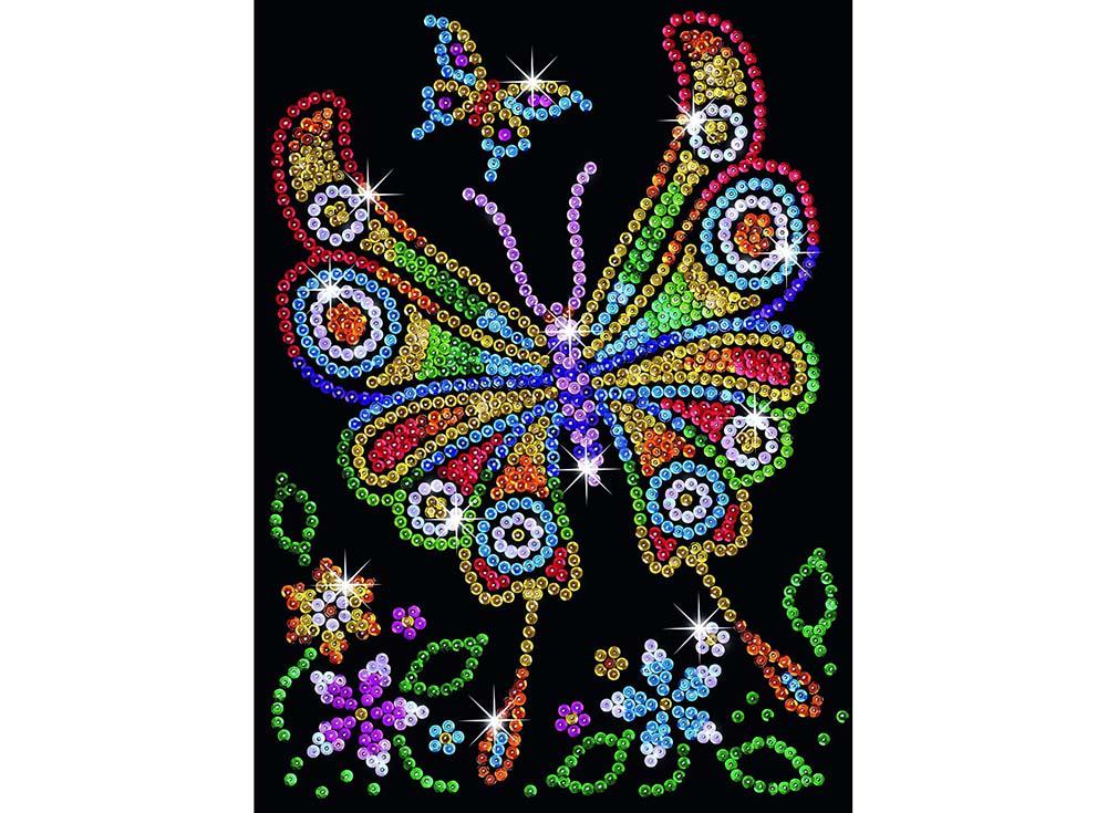 Мозаика из пайеток «Бабочка»Мозаика из пайеток<br><br><br>Артикул: 1209<br>Основа: Планшет из пенопласта<br>Размер: 25x34 см<br>Возраст: от 8 лет
