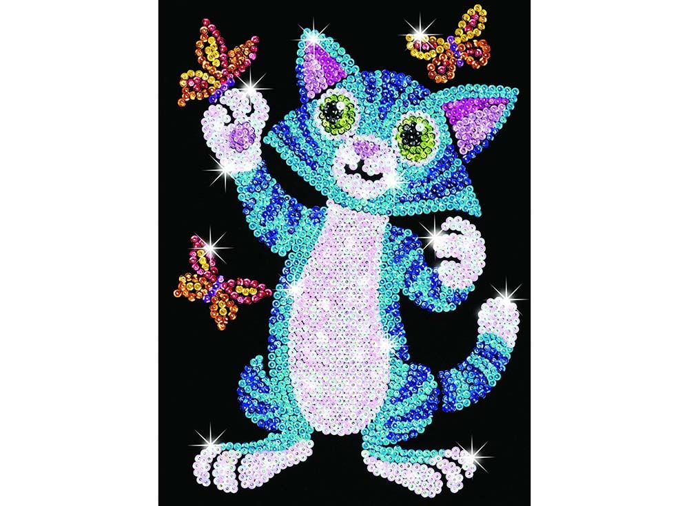 Мозаика из пайеток «Котенок с бабочками»