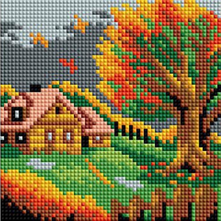 Стразы «Осенний домик»Алмазная вышивка фирмы Белоснежка<br><br><br>Артикул: 125-ST-PS<br>Основа: Холст без подрамника<br>Сложность: легкие<br>Размер: 15x15 см<br>Выкладка: Полная<br>Количество цветов: 14<br>Тип страз: Квадратные