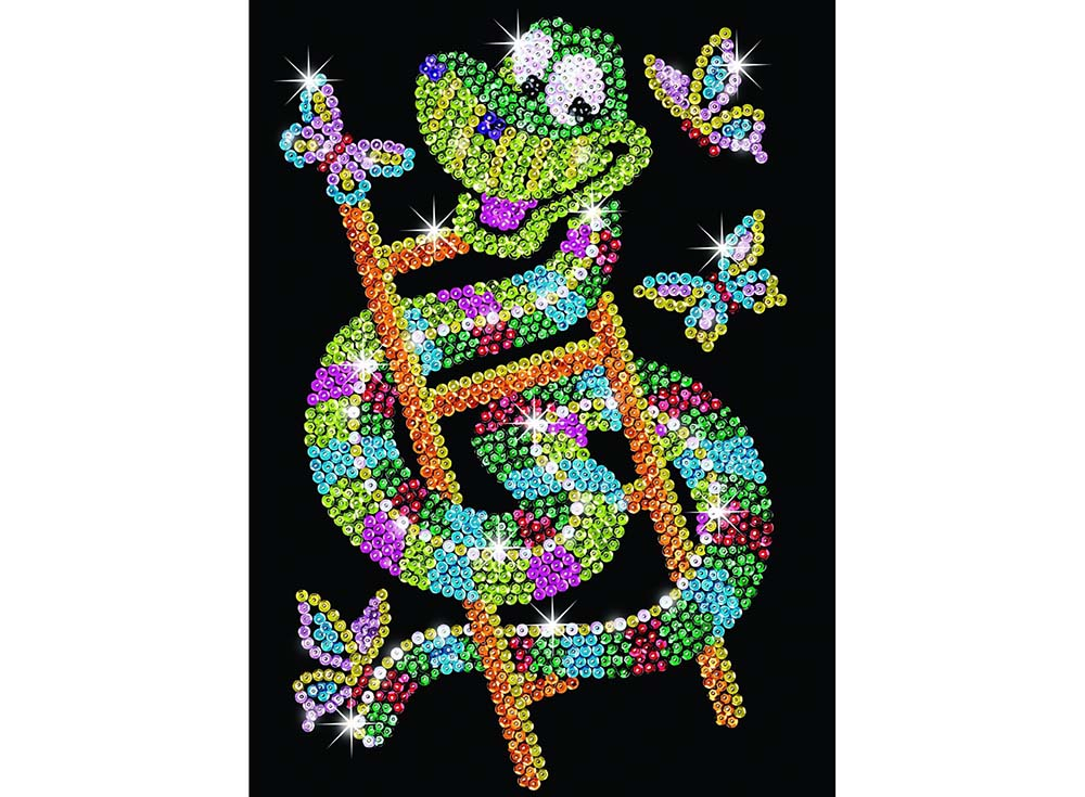 Мозаика из пайеток «Змейка»Мозаика из пайеток<br><br><br>Артикул: 1301<br>Основа: Планшет из пенопласта<br>Размер: 25x34 см<br>Возраст: от 8 лет