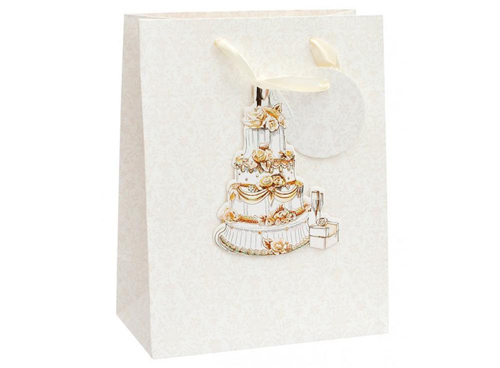 Подарочный пакет «Свадебный торт»Подарочные пакеты<br>Оригинальный пакет для упаковки подарка - это:<br> - качественная плотная бумага;<br> <br>- объемные элементы для украшения;<br> <br>- яркая и четкая печать рисунка;<br> <br>- укрепленное дно.<br> <br>Ваш подарок будет упакован стильно и качественно.<br><br>Артикул: 1350-SB<br>Размер: 18x10x23 см