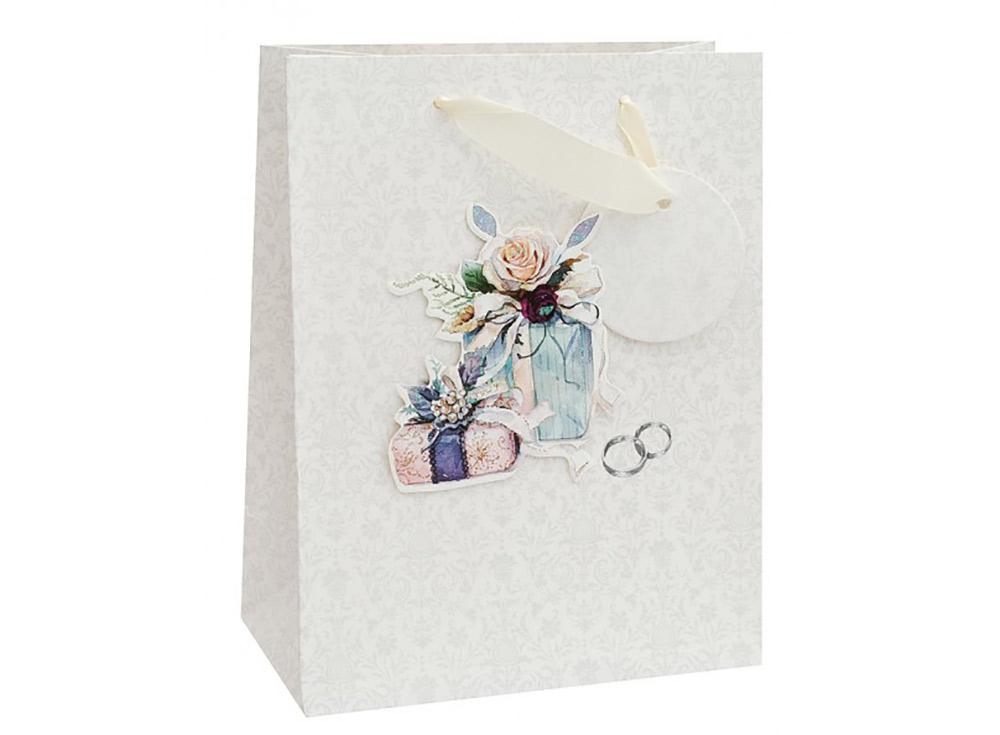 Подарочный пакет «Свадебный подарок»Подарочные пакеты<br>Оригинальный пакет для упаковки подарка - это:<br> - качественная плотная бумага;<br> <br>- объемные элементы для украшения;<br> <br>- яркая и четкая печать рисунка;<br> <br>- укрепленное дно.<br> <br>Ваш подарок будет упакован стильно и качественно.<br><br>Артикул: 1353-SB<br>Размер: 18x10x23 см