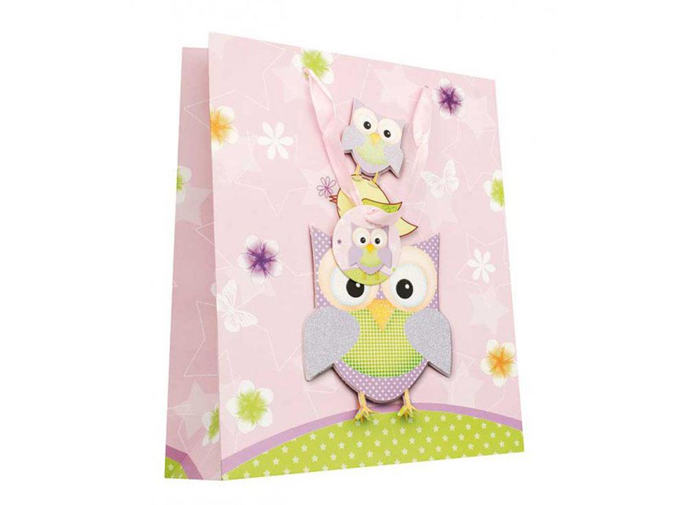 Подарочный пакет «Сиреневые совы»Подарочные пакеты<br><br><br>Артикул: 1405-SB<br>Размер: 18x24x8 см