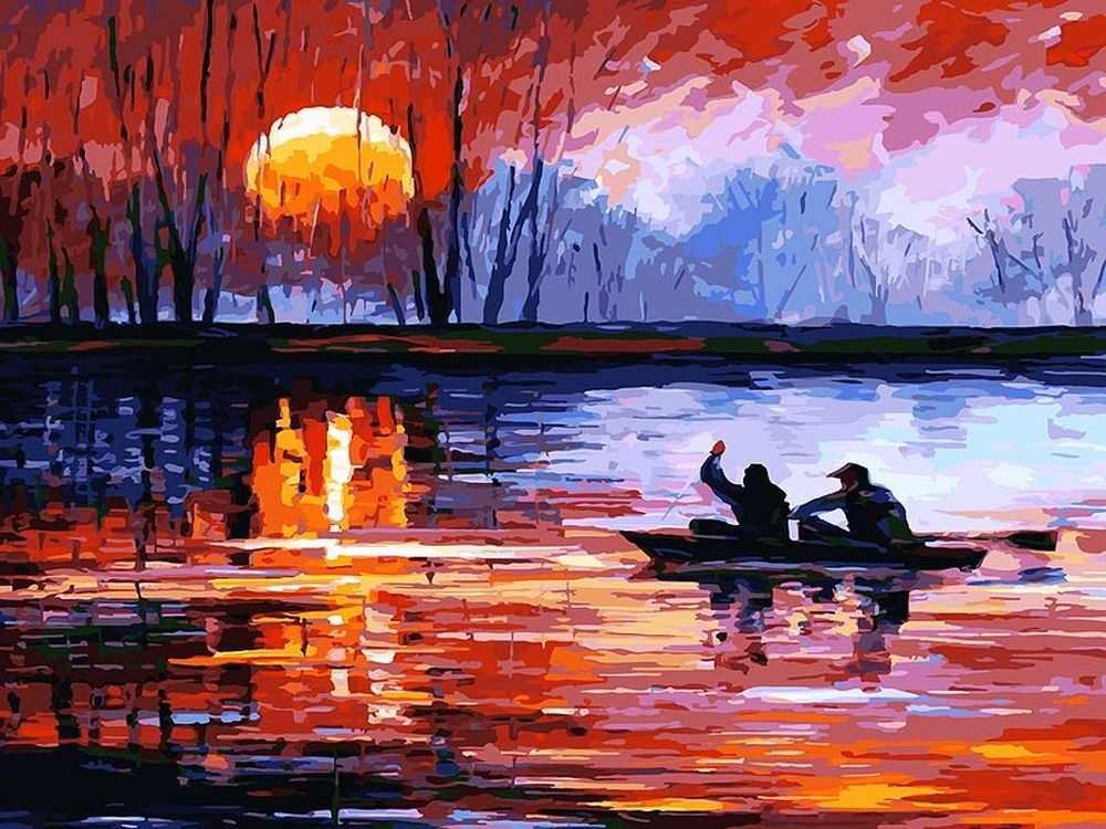 «Рыбалка на озере» Леонида АфремоваКартины по номерам Белоснежка<br><br><br>Артикул: 157-AS<br>Основа: Холст<br>Сложность: очень сложные<br>Размер: 30x40 см<br>Количество цветов: 36<br>Техника рисования: Без смешивания красок