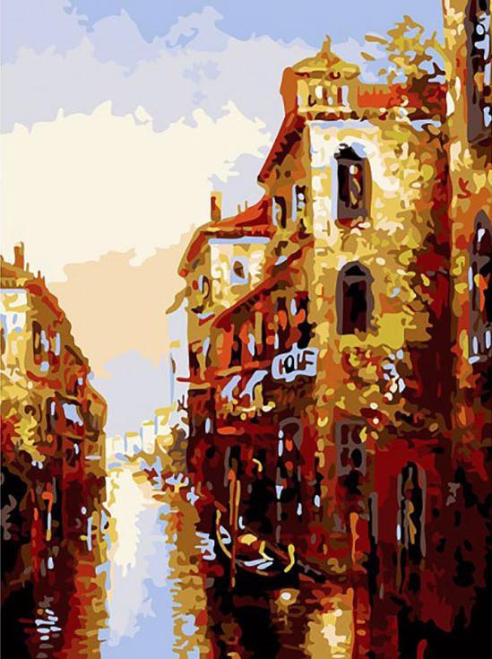 Картина по номерам «Канал в Венеции»Картины по номерам Белоснежка<br><br><br>Артикул: 158-AS<br>Основа: Холст<br>Сложность: очень сложные<br>Размер: 30x40 см<br>Количество цветов: 19<br>Техника рисования: Без смешивания красок