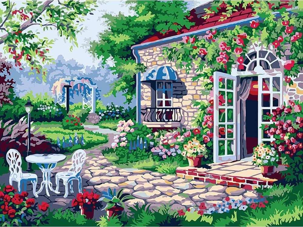«Терраса»Картины по номерам Белоснежка<br><br><br>Артикул: 161-AS<br>Основа: Холст<br>Сложность: средние<br>Размер: 30x40<br>Количество цветов: 23<br>Техника рисования: Без смешивания красок