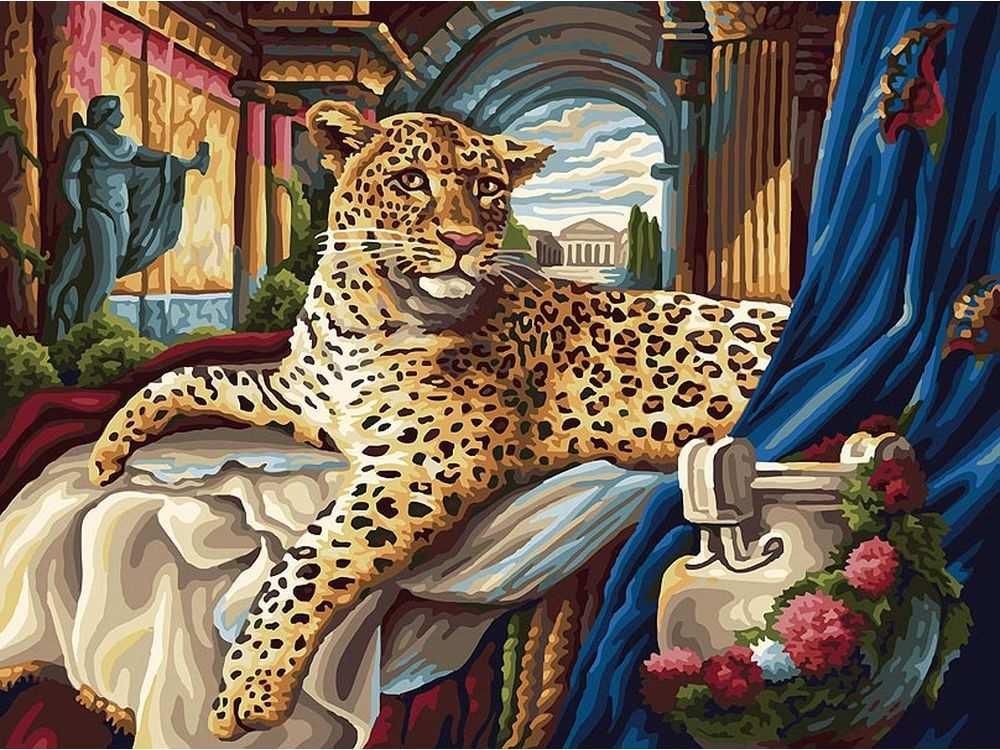 «Римский леопард»Картины по номерам Белоснежка<br><br><br>Артикул: 165-AS<br>Основа: Холст<br>Сложность: очень сложные<br>Размер: 30x40<br>Количество цветов: 30<br>Техника рисования: Без смешивания красок