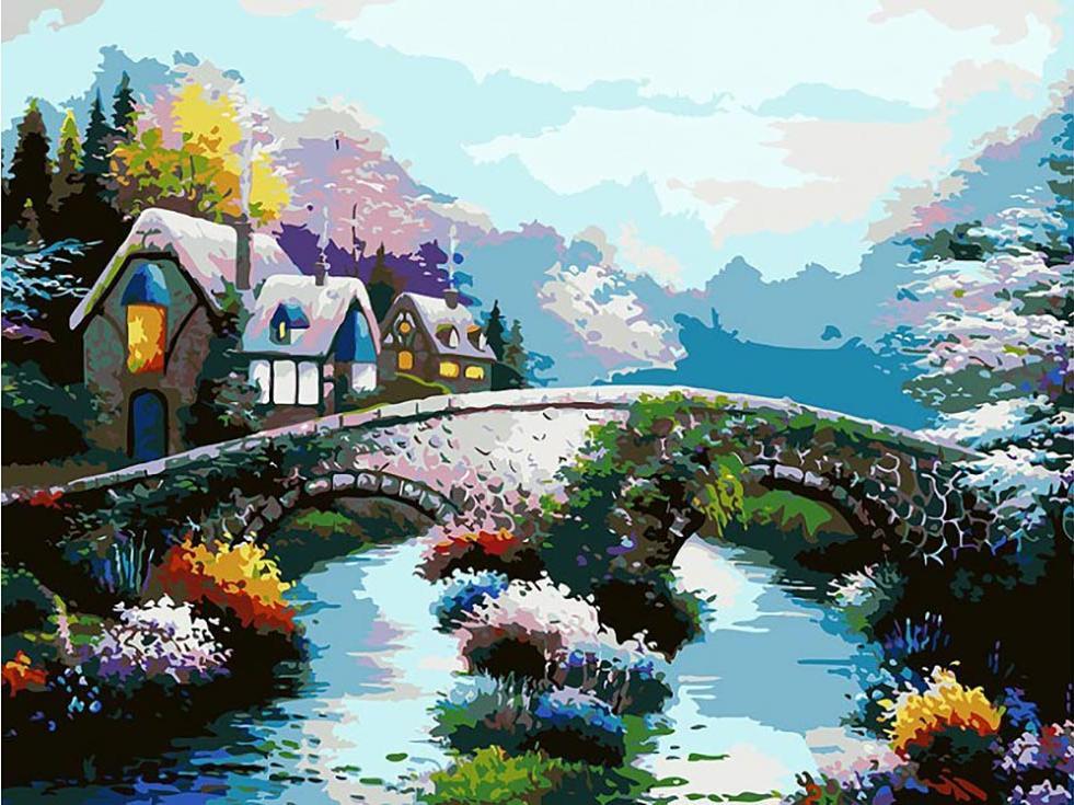 Картина по номерам «Старинный мост»Картины по номерам Белоснежка<br><br><br>Артикул: 169-AS<br>Основа: Холст<br>Сложность: очень сложные<br>Размер: 30x40 см<br>Количество цветов: 24<br>Техника рисования: Без смешивания красок