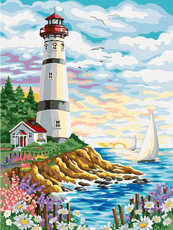 Картина по номерам «Красочный маяк»Картины по номерам Белоснежка<br><br><br>Артикул: 170-AS<br>Основа: Холст<br>Сложность: сложные<br>Размер: 30x40 см<br>Количество цветов: 24<br>Техника рисования: Без смешивания красок