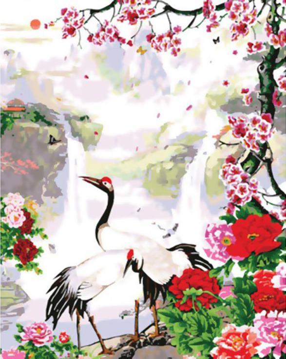 «Журавли»Картины по номерам Белоснежка<br><br><br>Артикул: 212-CG<br>Основа: Холст<br>Сложность: сложные<br>Размер: 40x50<br>Количество цветов: 20<br>Техника рисования: Без смешивания красок
