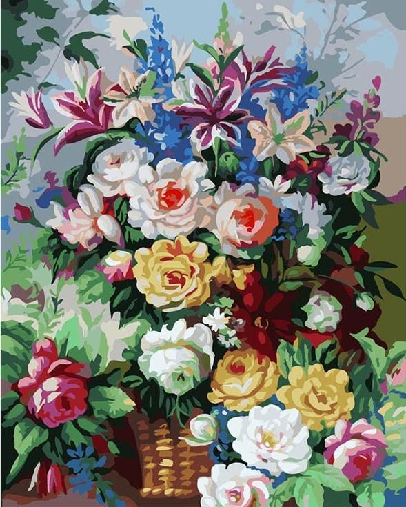 Картина по номерам «Цветочная феерия»Картины по номерам Белоснежка<br><br><br>Артикул: 319-CG<br>Основа: Холст<br>Сложность: средние<br>Размер: 40x50 см<br>Количество цветов: 24<br>Техника рисования: Без смешивания красок