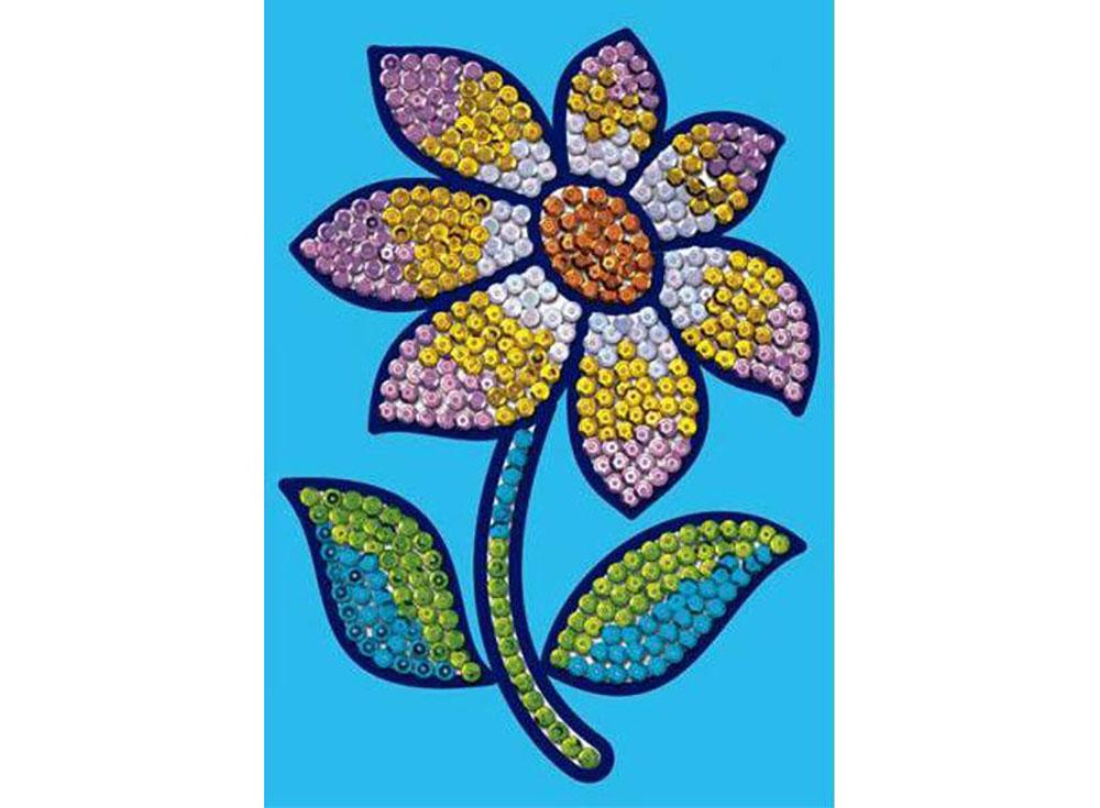 Мозаика из пайеток «Цветок»Мозаика из пайеток<br><br><br>Артикул: 0719<br>Основа: Планшет из пенопласта<br>Размер: 15x21