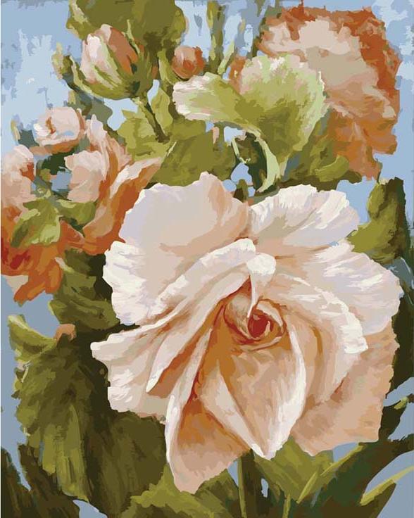 «Роза» Антона ГорцевичаКартины по номерам Белоснежка<br><br><br>Артикул: 889-AB<br>Основа: Холст<br>Сложность: очень сложные<br>Размер: 40x50 см<br>Количество цветов: 35<br>Техника рисования: Без смешивания красок