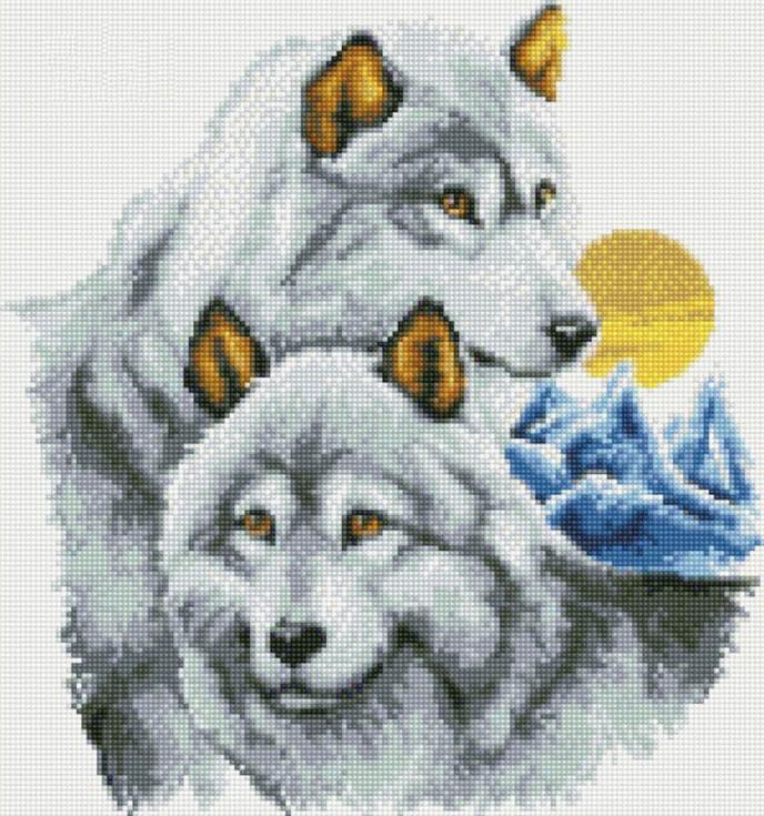 Стразы «Нежность волков»Цветной<br><br><br>Артикул: A031<br>Основа: Холст на подрамнике<br>Сложность: сложные<br>Размер: 40x50<br>Выкладка: Полная<br>Количество цветов: 20-35<br>Тип страз: Круглые непрозрачные (акриловые)