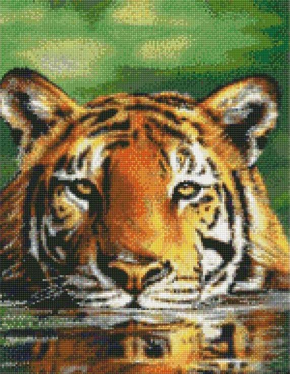 Стразы «Тигр в воде»Цветной<br><br><br>Артикул: A108<br>Основа: Холст на подрамнике<br>Сложность: сложные<br>Размер: 40x50 см<br>Выкладка: Полная<br>Количество цветов: 20-35<br>Тип страз: Круглые непрозрачные (акриловые)
