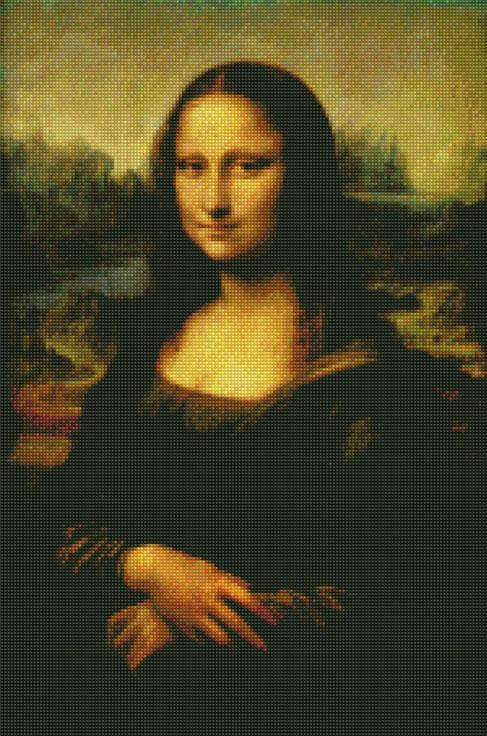 Стразы «Джоконда» Леонардо да ВинчиЦветной<br><br><br>Артикул: A595<br>Основа: Холст на подрамнике<br>Сложность: сложные<br>Размер: 40x50<br>Выкладка: Полная<br>Количество цветов: 20-35<br>Тип страз: Круглые непрозрачные (акриловые)