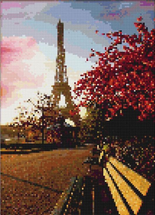 Стразы «Прогулка по Парижу»Цветной<br><br><br>Артикул: A602<br>Основа: Холст на подрамнике<br>Сложность: сложные<br>Размер: 40x50 см<br>Выкладка: Полная<br>Количество цветов: 20-35<br>Тип страз: Круглые непрозрачные (акриловые)