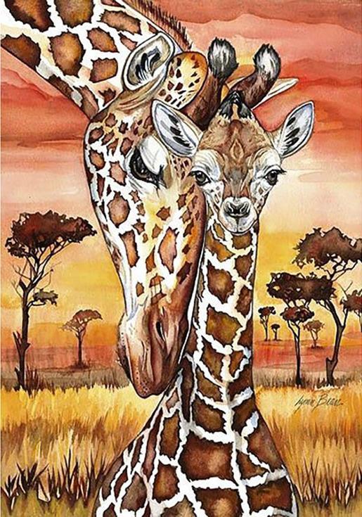 Алмазная вышивка «Жирафы» Линн БинаАлмазная вышивка Гранни<br><br><br>Артикул: AG4653<br>Основа: Холст без подрамника<br>Сложность: средние<br>Размер: 27x38 см<br>Выкладка: Полная<br>Количество цветов: 24<br>Тип страз: Квадратные