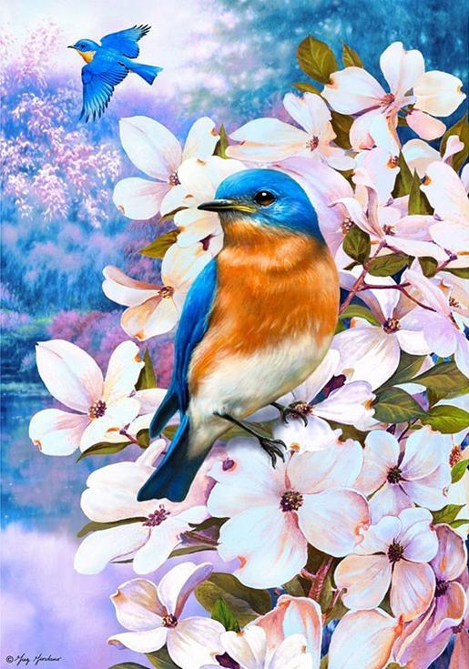 Стразы «Птицы лета» Грега ДжорданоАлмазная вышивка Гранни<br><br><br>Артикул: Ag4660<br>Основа: Холст без подрамника<br>Сложность: сложные<br>Размер: 38x48 см<br>Выкладка: Полная<br>Количество цветов: 38<br>Тип страз: Квадратные