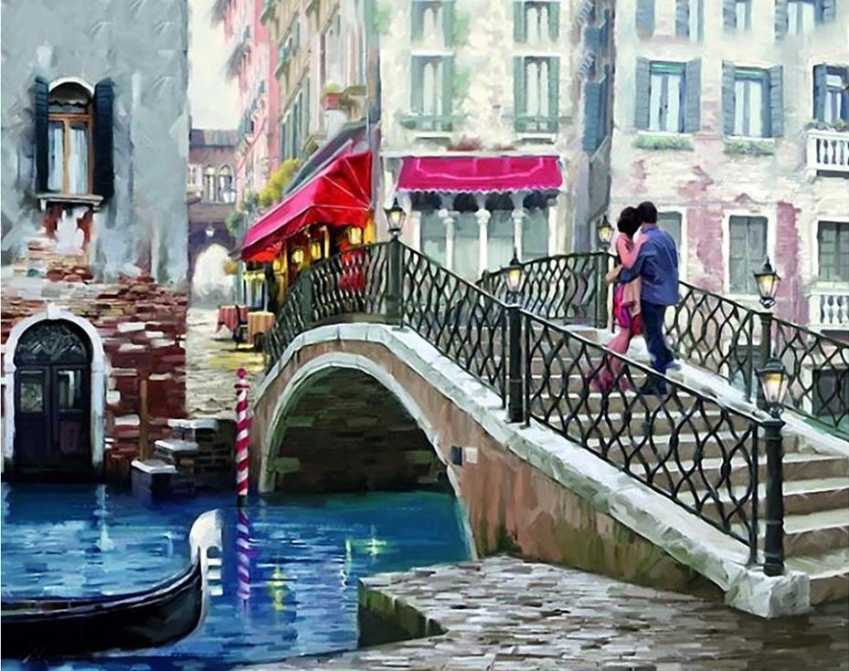 Стразы «Влюбленные. Мост в Венеции» Ричарда МакнейлаАлмазная вышивка Гранни<br><br><br>Артикул: AG4664<br>Основа: Холст без подрамника<br>Сложность: сложные<br>Размер: 38x48 см<br>Выкладка: Полная<br>Количество цветов: 39<br>Тип страз: Квадратные