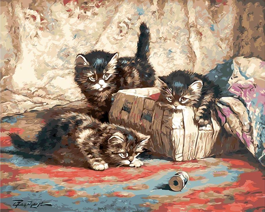 «Котята и катушка ниток» Корнелиса РаафорстаPaintboy (Premium)<br><br><br>Артикул: GX8608<br>Основа: Холст<br>Сложность: средние<br>Размер: 40x50<br>Количество цветов: 28<br>Техника рисования: Без смешивания красок