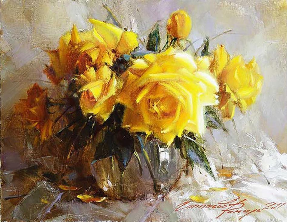 Картина по номерам «Желтые розы» Рамиля ГаппасоваPaintboy (Premium)<br><br><br>Артикул: GX8651<br>Основа: Холст<br>Сложность: сложные<br>Размер: 40x50 см<br>Количество цветов: 27<br>Техника рисования: Без смешивания красок