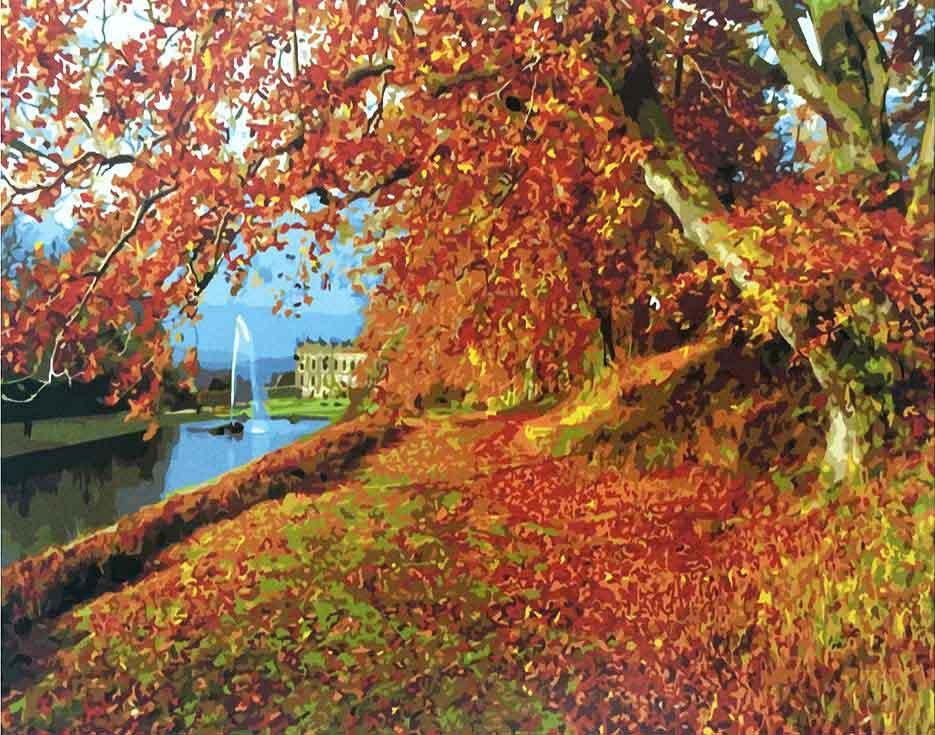 «Осенний парк»Paintboy (Premium)<br><br><br>Артикул: GX9210<br>Основа: Холст<br>Сложность: средние<br>Размер: 40x50<br>Количество цветов: 25<br>Техника рисования: Без смешивания красок