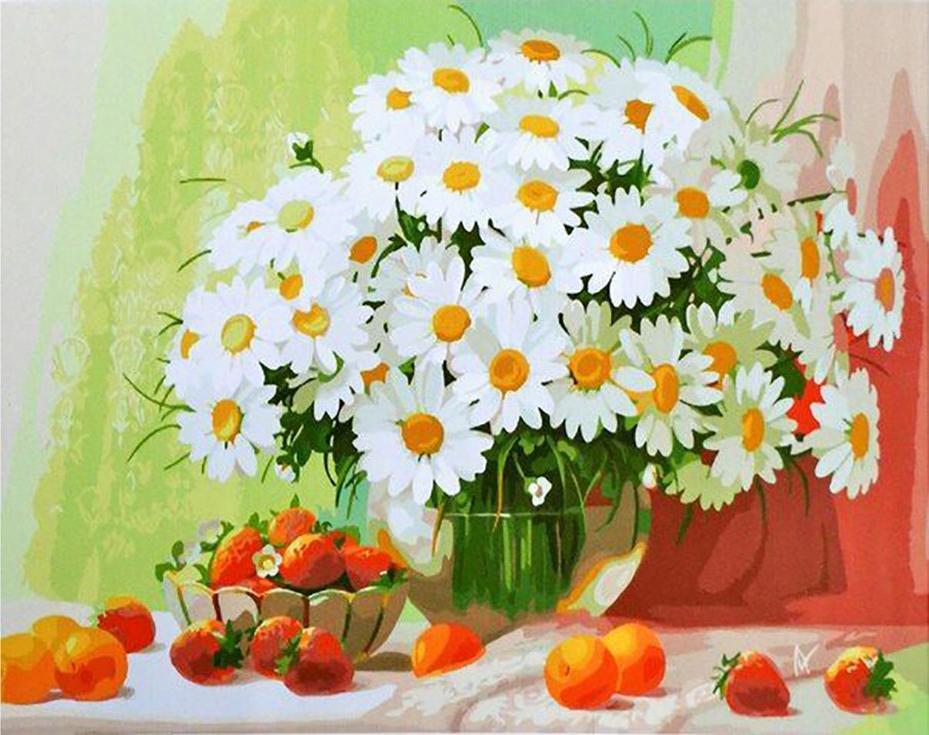 «Ромашки» Анны ЛакисовойPaintboy (Premium)<br><br><br>Артикул: GX9222<br>Основа: Холст<br>Сложность: сложные<br>Размер: 40x50 см<br>Количество цветов: 31<br>Техника рисовани: Без смешивани красок