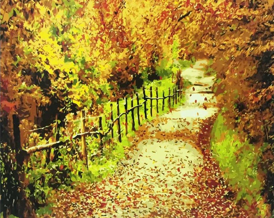 «Осенняя тропа»Paintboy (Premium)<br><br><br>Артикул: GX9252<br>Основа: Холст<br>Сложность: средние<br>Размер: 40x50 см<br>Количество цветов: 22<br>Техника рисования: Без смешивания красок