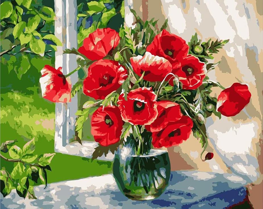 Картина по номерам «Маки на окне» Жанны КогайPaintboy (Premium)<br><br><br>Артикул: GX9298<br>Основа: Холст<br>Сложность: средние<br>Размер: 40x50 см<br>Количество цветов: 24<br>Техника рисования: Без смешивания красок