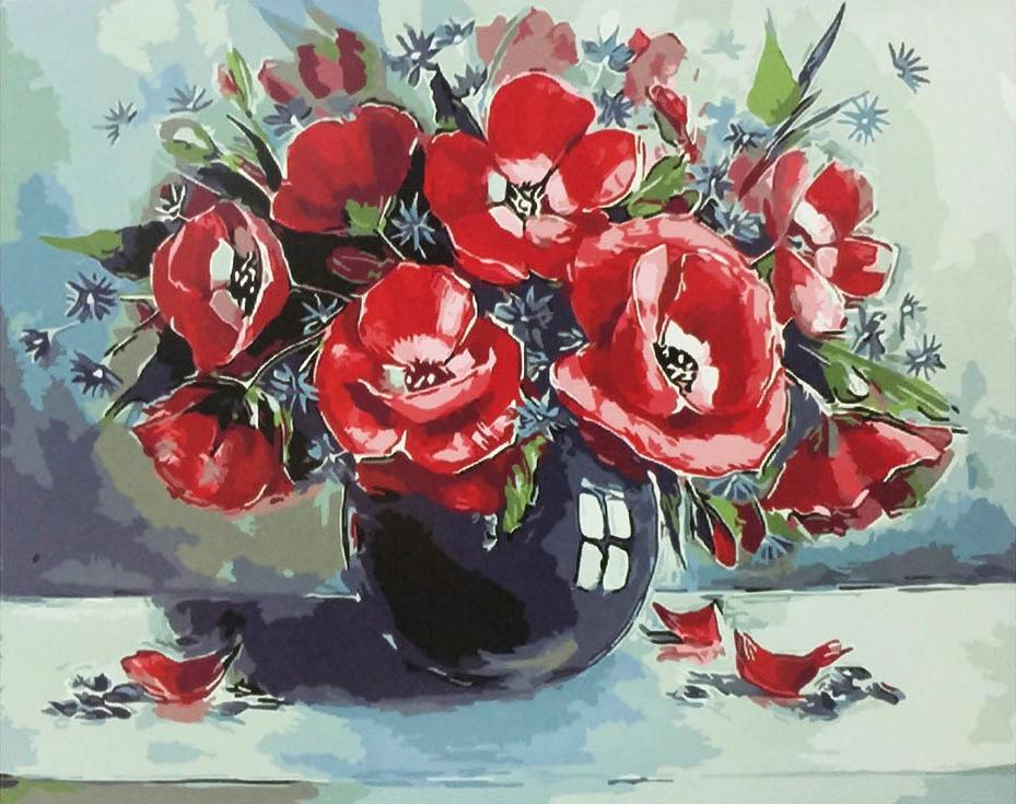«Маки»Paintboy (Premium)<br><br><br>Артикул: GX9299<br>Основа: Холст<br>Сложность: средние<br>Размер: 40x50 см<br>Количество цветов: 25<br>Техника рисования: Без смешивания красок