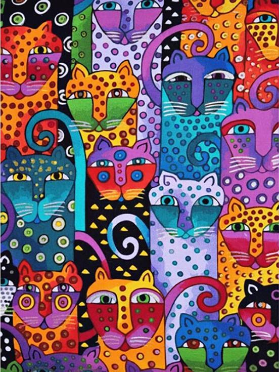 «Цветные коты» Лаурель БёрчРаскраски по номерам Paintboy (Original)<br><br><br>Артикул: GX9372_R<br>Основа: Холст<br>Сложность: средние<br>Размер: 40x50 см<br>Количество цветов: 24<br>Техника рисования: Без смешивания красок