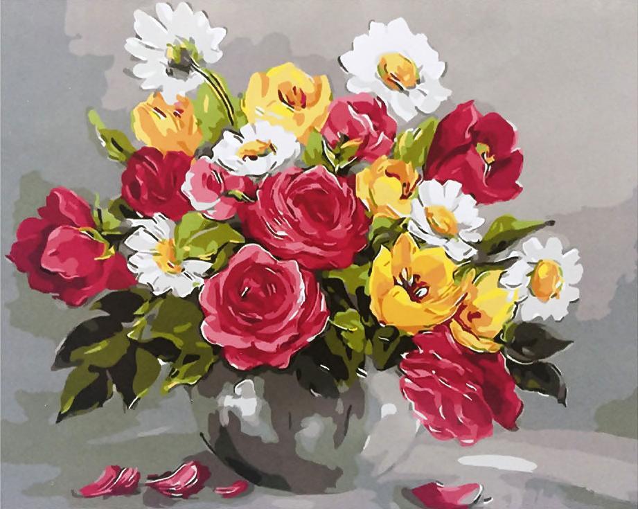 «Весенние цветы» Анки БулгаруPaintboy (Premium)<br><br><br>Артикул: GX9445<br>Основа: Холст<br>Сложность: средние<br>Размер: 40x50<br>Количество цветов: 24<br>Техника рисования: Без смешивания красок