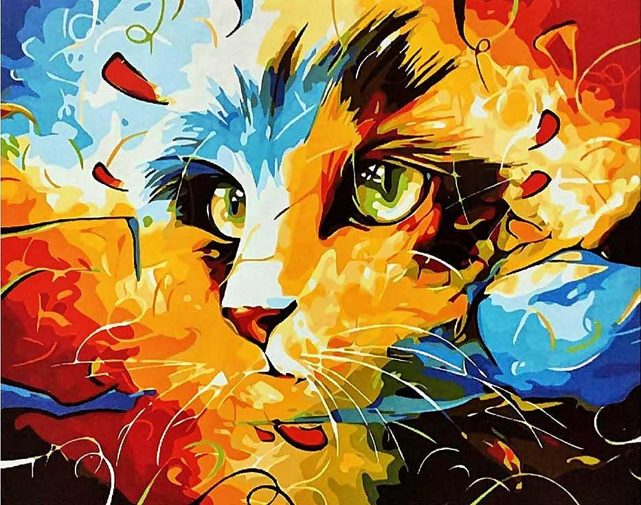 «Кошка» Наушада ВахидаРаскраски по номерам Paintboy (Original)<br><br><br>Артикул: GX9490_R<br>Основа: Холст<br>Сложность: средние<br>Размер: 40x50 см<br>Количество цветов: 24<br>Техника рисования: Без смешивания красок