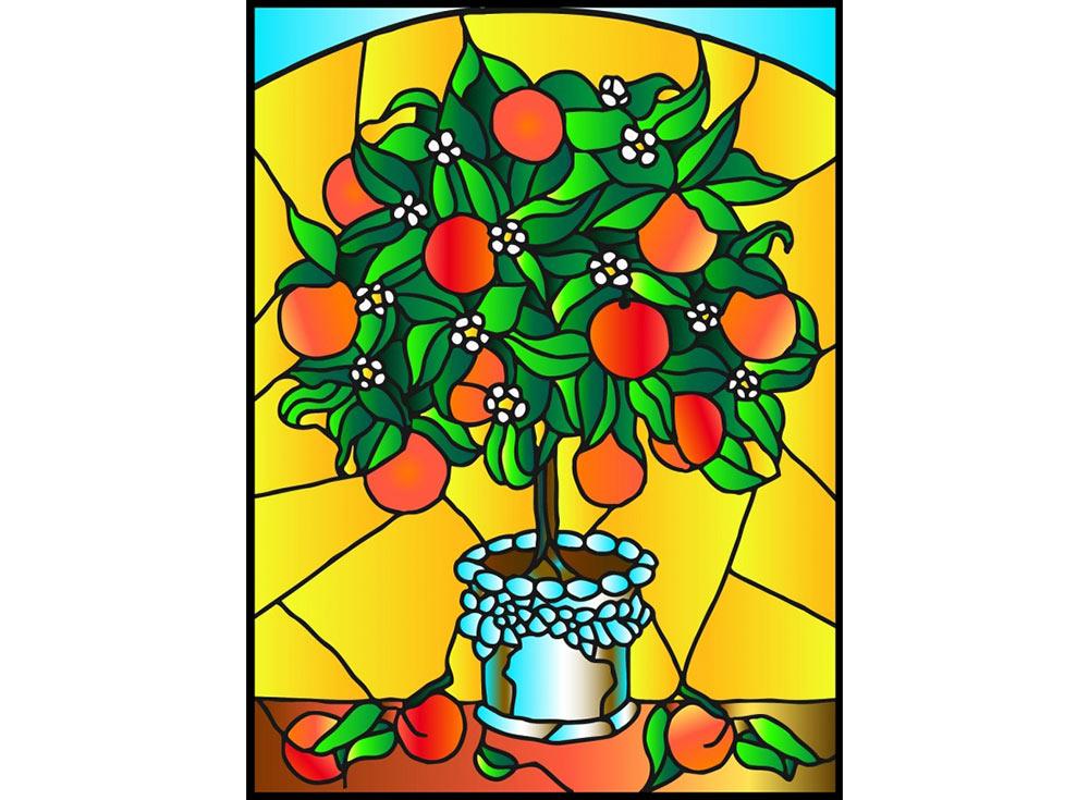 Витраж-раскраска «Апельсиновое дерево»